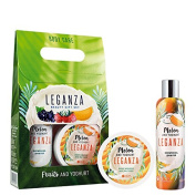 Leganza Gift Set Shower Gel and Body Mousse with Yoghurt and Melon Rich and Luxurious Body Treatment
