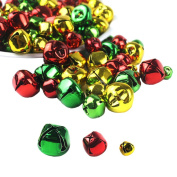 Whonline 150pcs Colourful Christmas Metal Bells Craft for Festival Decoration DIY Charms Jewellery Making