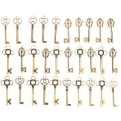 Jeteven 30 PCS Vintage Skeleton Keys Bronze Antique Keys Charm Pendants Set for DIY Handmade Necklace Pendants