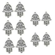 Gemini_mall® 10pcs Silver Tone Hamsa Hand Charm Pendants for Bracelet, Necklace, Anklet, Jewellery Making DIY Crafts
