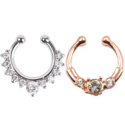 2 Piece Fake Nose Ring Septum Piercing Jewellery for Women Non Piercing Clip On Body Piercing Jewellery