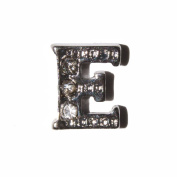 Letter E with clear stones - 7mm silvertone floating charm fits living memory lockets and keyrings
