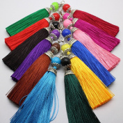 Fashion 12pcs Ice Silk Silky Tassel with Lobster For Cell Phone Straps/DIY Charms Handbag Pendant