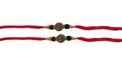 PMK Set of Two, Om - Swastik Design, Rakhi thread, Raksha bandhan Gift for your Brother, Red Colour Vary and Multi Design