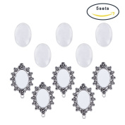 Pandahall 5 Sets 20x30mm Transparent Glass Cabochon Covers and 57x38mm Oval Flower Frame Beads , Antique Silver
