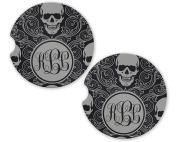 Sugar Grey Skull Personalised Monogram Sandstone Car Cup Holder Matching Coaster Set