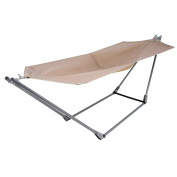 YUEBO Portable Canvas Hammock with Space-Saving Steel Stand and Shoulder Harness Carrying Bag, Weight Capacity of 110kg - Khaki