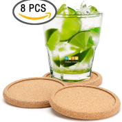 Dulce Cocina Cork Coasters Premium Set of 8 - Save Your Furniture Surface From Stains And Moisture By Durable Large Deep Tray That Catches Condensation & Liquid From Cold Drinks