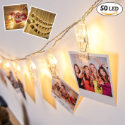 50 LED Hanging Picture Clips Decorative String Lights - Battery Powered - with string 7.5 metres long, ideal for Artwork & Photos - Valentine's Day Decorations