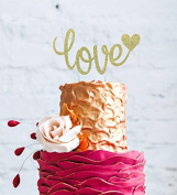 Love Cake Topper - Valentines Day, Wedding, Hen Party Love Cake Topper - Glittery Gold