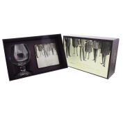 Brandy Glass & Foil Coaster Set Gift For Him Boxed