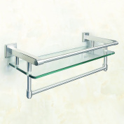 Sayayo Tempered Glass Shelf Square Bathroom Shelf with Towel Bar and Rail Wall Mounted 50cm , Stainless Steel Brushed Finished, EGK9012