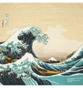 "Japonmania Furoshiki with ""The Great Wave"" by Hokusai Design 50 x 50 cm Beige"