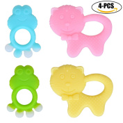 Infant Teether, Fascigirl 4 PCS Silicone Teether Creative Cartoon Frog Cat Teether Baby Chew Toy