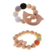 Baoblaze 2pcs Baby Teething Bracelets Wooden Beads Teether Newborns Kids Rattles Toys