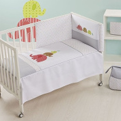 Piccolandy Family – Duvet Cover and Protector for Cot, 60 x 120 cm, Grey