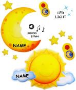 """mit Sound & LED Licht __ Nachtlicht - """" Mond & Sterne """" - incl. Name - per Fernbedienung steuerbar - dimmbar - 16 Melodien / Zirpen & Grillensound - Zeiteinstellung / Spieluhr - mit / ohne Licht - Schlummerlicht - schnell & langsam spielbar - Baby / ma .."""