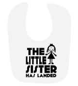 'The Little Sister Has Landed' cute baby girls hook and loop feeding bib