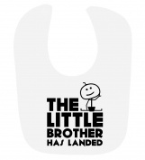 'The Little Brother Has Landed' cute baby boys hook and loop feeding bib