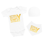 APRON HAUS 'Utterly irresistibly Simply Adorable' Baby Grow With Bandana Bib and Beanie Hat Triple Set