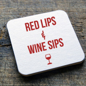 "dRINK. Barware ""Red Lips & Wine Sips"" 100 10cm Round Heavyweight Blank White Paper Pulpboard Coasters"