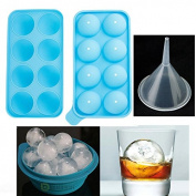 Round Ice Balls Maker Tray 8 Sphere Moulds Cube Whiskey Cocktails Party