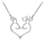 Wicemoon Love Elk Pendant Necklace for Girl Jewellery Gift Chain Collar Pendant Necklace