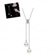 Wicemoon Imitation Pearl Necklace Long Sweater Chain Necklace Pendant Clothing Accessories