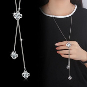 Wicemoon Four Temperament Necklace Flower Tassel Necklace Long Sweater Chain Necklace Pendant Clothing Accessories