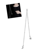 Wicemoon Moon and Stars Necklace Long Sweater Chain Necklace Pendant Clothing Accessories