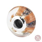 MOCCI Autumn Shimmering Stripe Murano Glass Beads DIY Fits for Original Pandora Bracelets Charm Making Jewellery