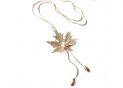 Cdet Women Necklace Golden Leaf Pearl Pendant Long Chain Necklace Collar Choker Necklace Jewellery Christmas Gift