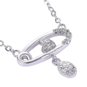 Women'S Trendy Zircon Pendant Necklace White Gold Plated Silver Shining Necklace For Girl