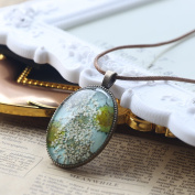 A-SZCXTOP Preserved Fresh Flower Necklace Beautiful Pendent Dried Flowers Oval Pendant Necklace Adorable Gift for Birthday, Valentine's Day and Mother's Day