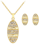 Cdet Women Necklace Earrings Oval Pendant Necklace Girl Chain Necklace Party Wedding Jewellery Set Love Gift Golden