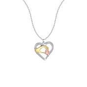Bobury Silver Plated Chain Necklace Heart-shaped Big Hand Hold Small Hand Pendants Necklace