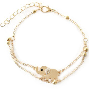 Wicemoon Small Elephant Pattern Ladies Anklet Rose Gold Diamond Toe Ring Anklet Chain