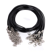 20 Pcs Black Artificial Leather String Chain Cord for Necklace With Clasp