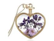 TFXWERWS Creative Vintage Dried Flower Plant Specimen Crystal Pendant Necklace
