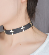 Black Goth Punk Rock Tie Collar Choker/Necklace With Cross For Ladies And Girls