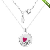 PANDOCCI 2017 Valentine's Day Authentic 925 Sterling Silver Logo Floating Locket Sapphire Crystal Glass With Love Feelings Petite Necklace Jewellery