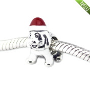 PANDOCCI 2016 Christmas Fits Pandora Bracelets Puppy Silver Beads With Red Enamel 100% Authentic 925 Sterling Silver Charms DIY Jewellery