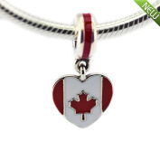 PANDOCCI 2016 New Canada Heart Flag, Red & White Enamel Beads Fits for Pandora Charms Bracelets Jewellery