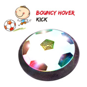 Air Power Soccer Skyking Hover Ball Disc Indoor & Outdoor Training Football Game for Multiple Player with Foam Bumpers and Colourful LED Lights Glow Ball Kick Toys for Kids