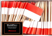One Box Monaco Toothpick Flags, 100 Small Principality of Monaco or Monegasque Cupcake Flag Toothpicks or Cocktail Picks