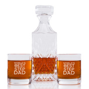 World's Best Step Dad Engraved Vintage Cut Decanter