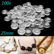 Jeteven 100 Pcs Glass Dome Cabochon Clear Round Tiles for Pendants Jewellery Making