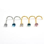 Zhichengbosi 5pcs 20G Bar Surgical Steel Cubic Zirconia Crystal Nose Ring