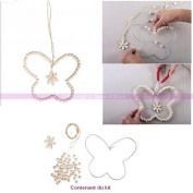Metal Wire Kit DIY Butterfly Pearl Design Wooden Hanging 14cmx14 cm, Flower, Garden Decoration and Romantic
