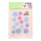 3D flower design film light blue / purple / indigo